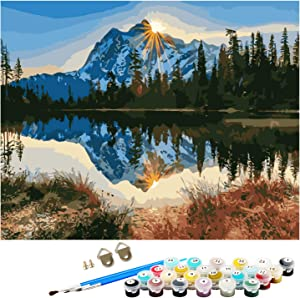 DIY Oil Painting Kit for Beginners & Adults, Paint by Numbers Landscape Paintings Arts Craft for Home Decoration 16 by 20inch