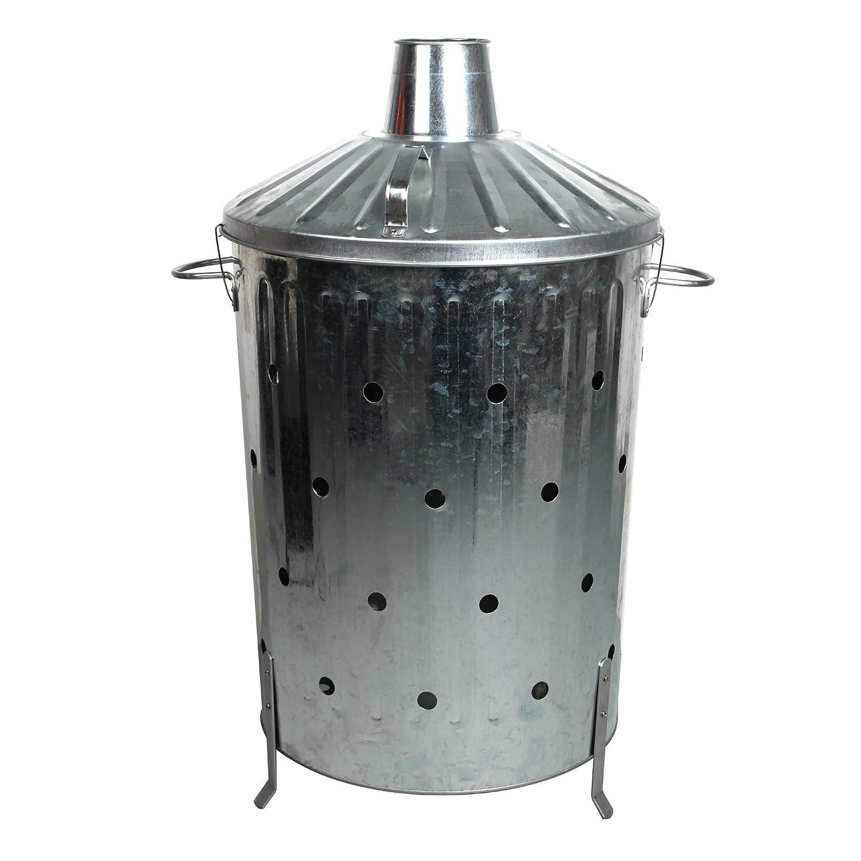 CrazyGadget 90 Litre 90L Extra Large Galvanised Metal Incinerator Rapid Burn Fire Quick Burning Bin with Special Locking Lid Greater Ventilation CrazyGadget®