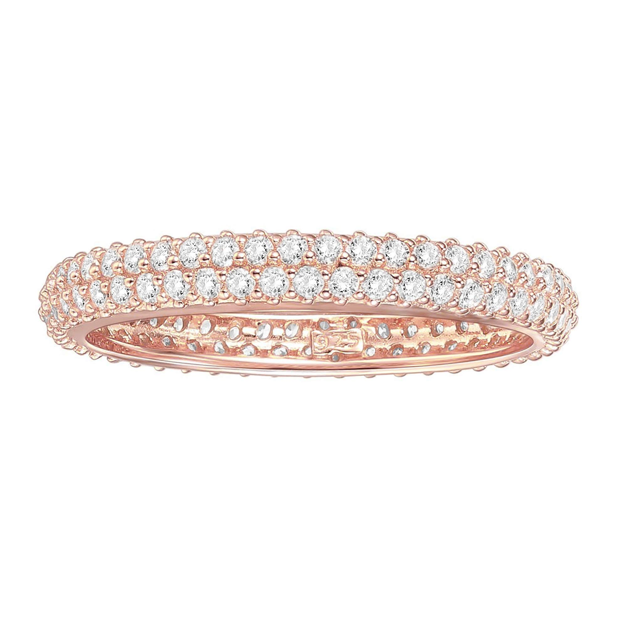 PAVOI 14K Gold Plated Sterling Silver Cubic Zirconia Double Row Eternity Band for Women