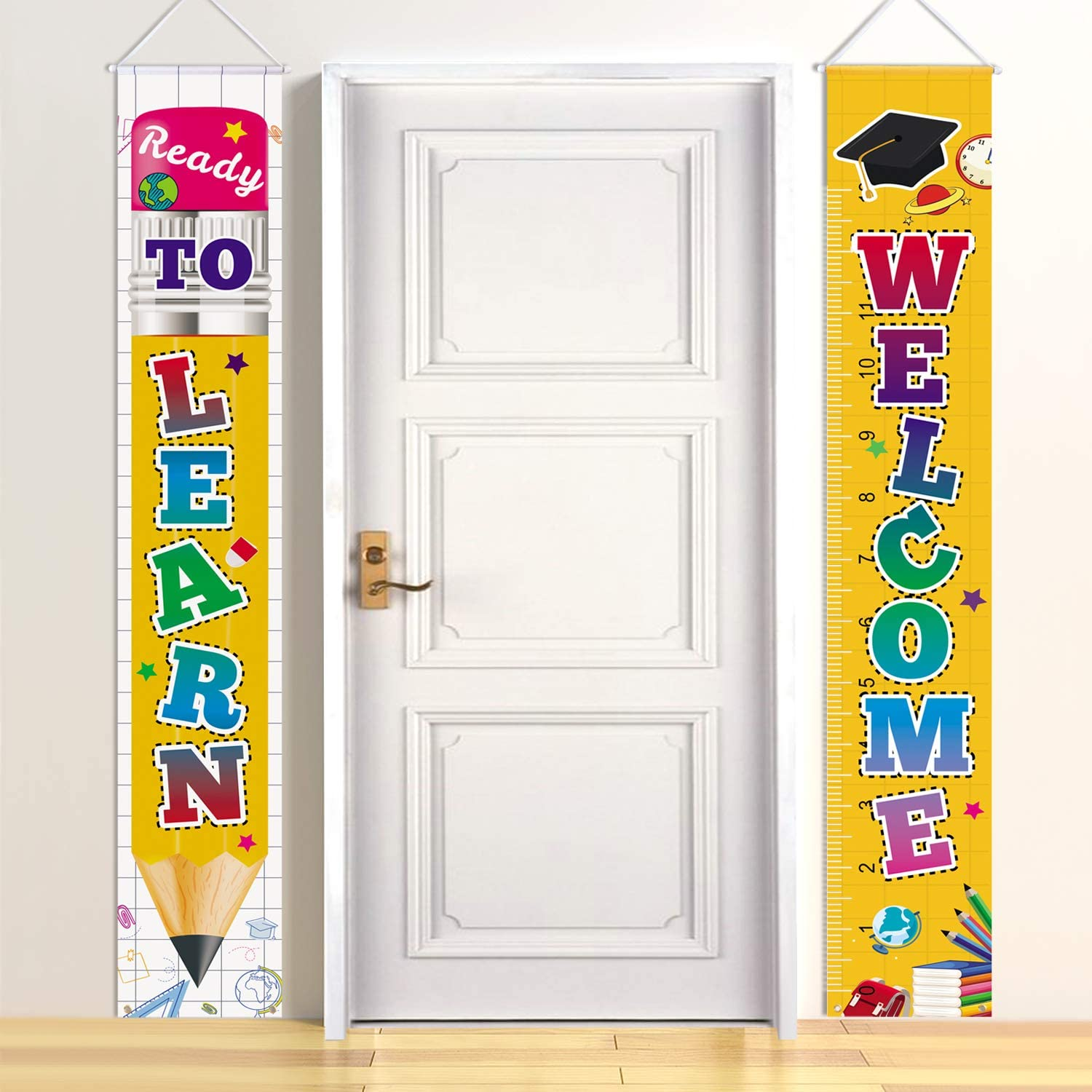 Latoy Welcome Back to School Decorations Party Hanging Banners Set - Welcome & Ready to Learn Porch Sign Set Party Supplies for Kindergarten Pre-School Primary High School Classroom