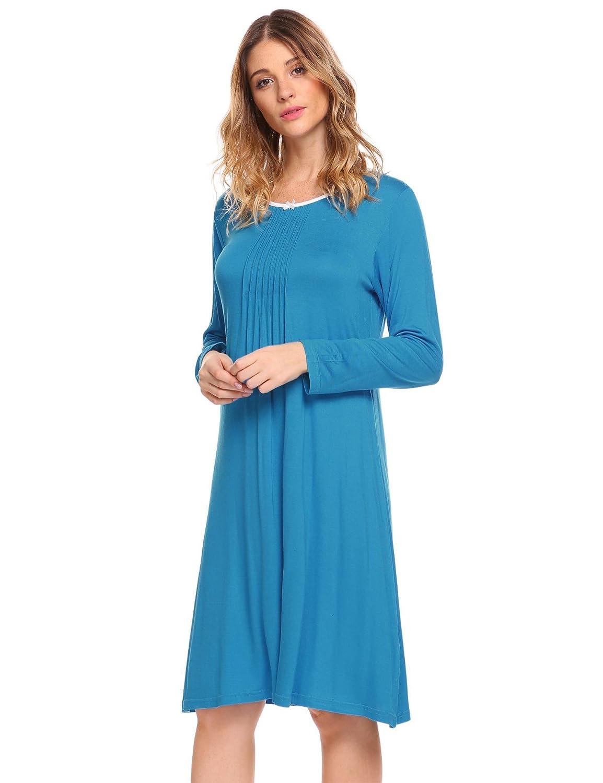 MAXMODA Women's Cotton Nightgown Sleepwear Long Sleeves Nightwear Dress MXK000176