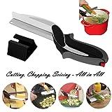 Ciseaux de cuisine cutter 2-in-1 coupe-légumes et un couteau de cuisine avec planche à découper intégrée, complément alimentaire pour bébé, ciseaux (Noir)