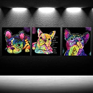 iKNOW FOTO Colorful Dog Canvas Prints Animal Paintings Cute French Bulldog Wall Art Pop Art Canvas Quotes Giclee Print Home Decorations for Living Room Bedroom Stretched and Framed Ready to Hang