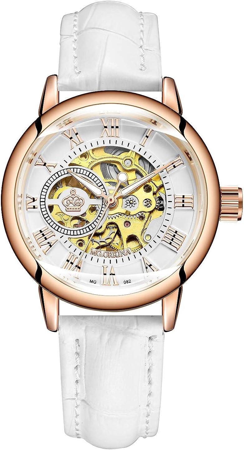Sweetbless Wristwatch Women s Analog Roman Number Steampunk Skeleton Self-Wind Auto Mechanical Watch