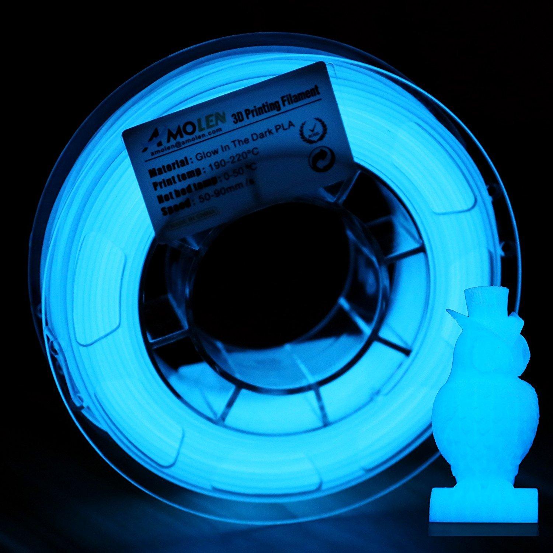 AMOLEN Imprimante 3D Filament PLA 1.75mm, Glow in the Dark Vert 1KG,+/- 0.03 mm Matériaux d'impression 3D en filament, comprend des échantillons de Filaments Shining Violet.