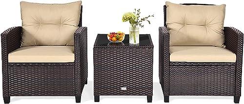 HAPPYGRILL 3-Pieces Patio Conversation Set Outdoor Rattan Wicker Bistro Sofa Set Patio Furniture Set