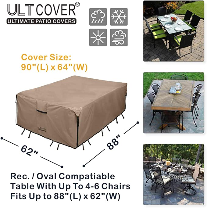 GOO-Ki ClawsCover Rectangular Patio Table and Chiar Covers Heavy Duty Waterproof Outdoor 600D Canvas Outside Picnic Dinning Furniture Set Cover for Lawn Garden,Storage Bag-90.5 L x 60.2 W x 24.