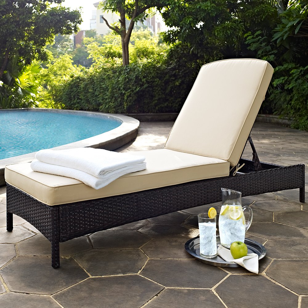 Amazon.com: Crosley Furniture Palm Harbor Outdoor Wicker Chaise Lounge with  Cushions - Brown: Patio, Lawn & Garden - Amazon.com: Crosley Furniture Palm Harbor Outdoor Wicker Chaise