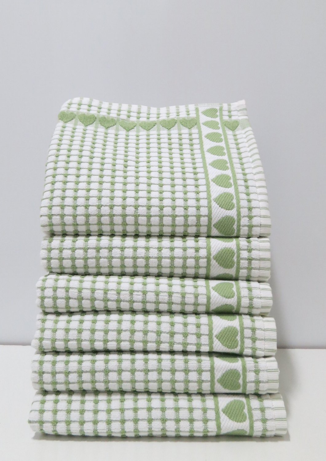 Kitchen Towels , Love Gift, Highly Absorbent, Low Lint, 100% Cotton Dish Towels, High Quality Check Print. Tea Towels, 19 X 31. Bleachable Towels From Roseberry Linen, (Green, 6 Pieces) by Roseberry Linen