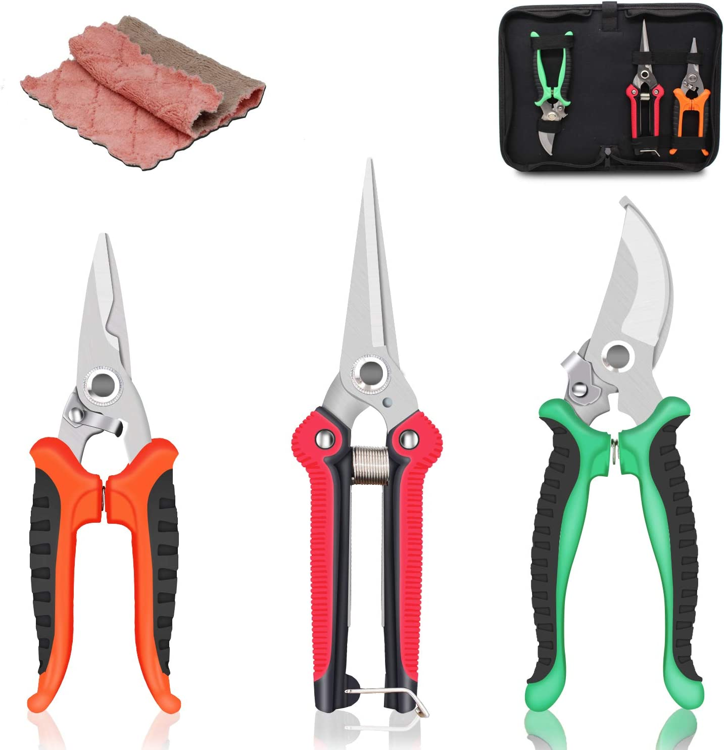 SUMYOUNG Steel Pruning Shears, Professional Gardening Shears, 3 Pcs Usefull Garden Trimming Scissor Set with Sharp and Durable Blades, Comfortable Handle, Safety Lock, Include a Storage Bag