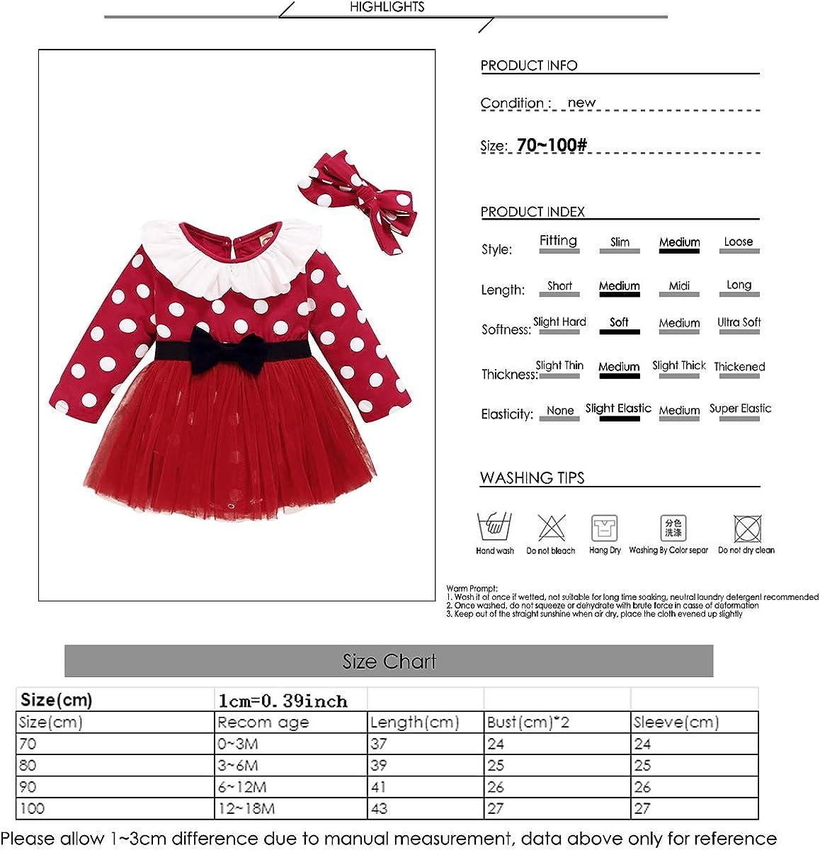 Vestido de Tirantes para beb/és y ni/ños peque/ños Conjuntos de Manga Larga Volantes Conjunto de Ropa Beb/é Ni/ña Disfraz de Lunares Tutu