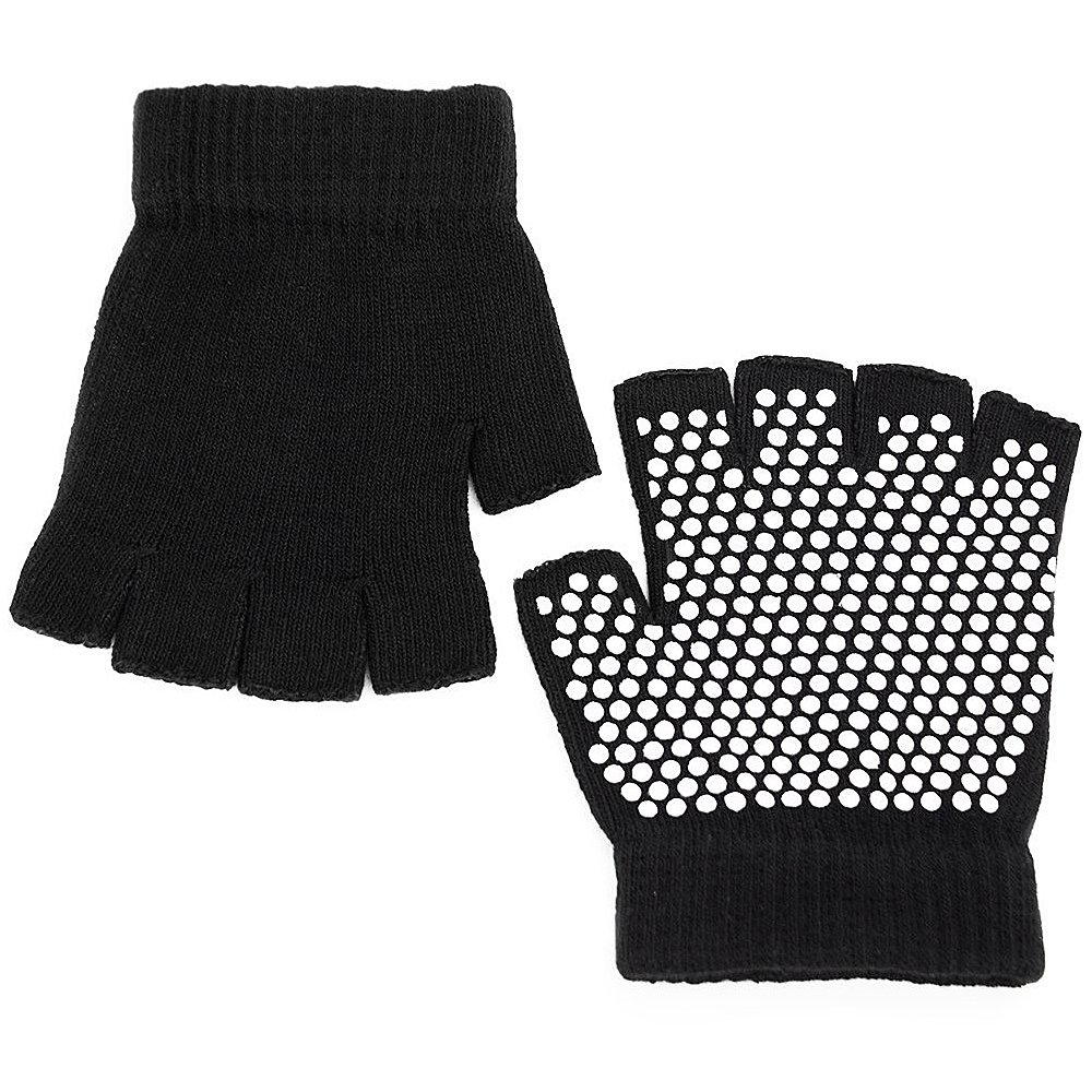 Elisona®1 Pair of Women Ladies Elastic Breathable Yoga Pilates Exercise Sport Anti-slip Fingerless Gloves with White Silicone Dots Black