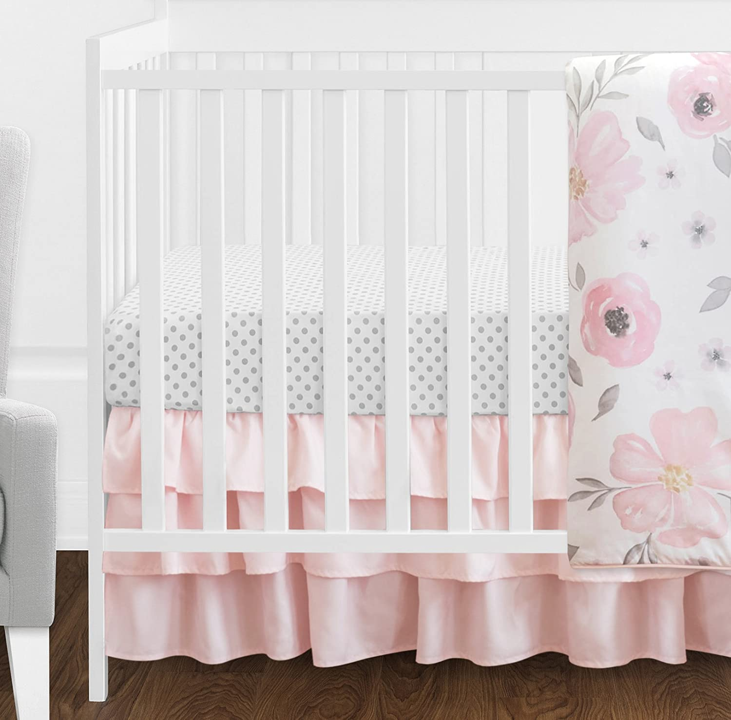 8 pc cot //cot bed bedding sets PILLOW BUMPER CASES pink grey stars white