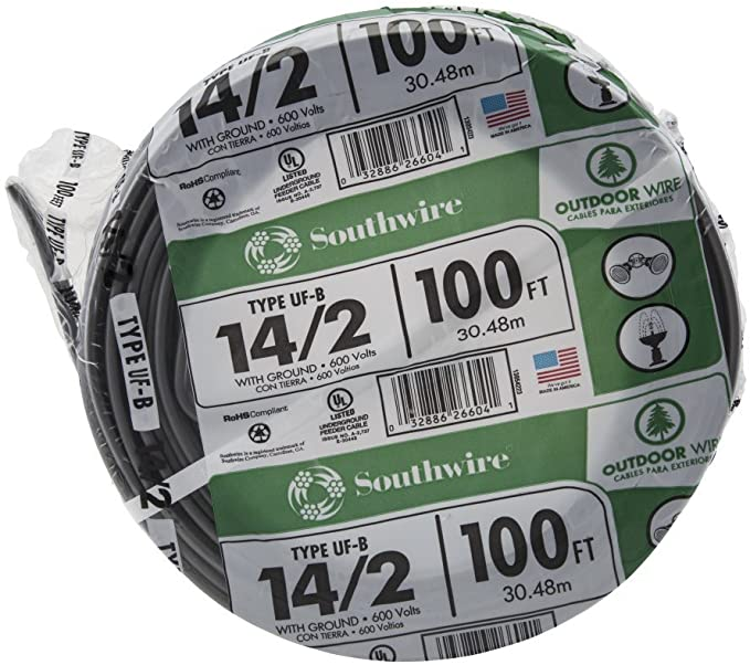 12//3 W//GR 125/' FT UF-B OUTDOOR DIRECT BURIAL//SUNLIGHT RESISTANT ELECTRICAL WIRE