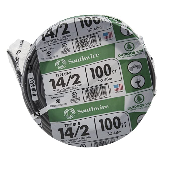 Southwire 13054226 14/2WG UF Wire 100-Foot, Approved for Direct ...