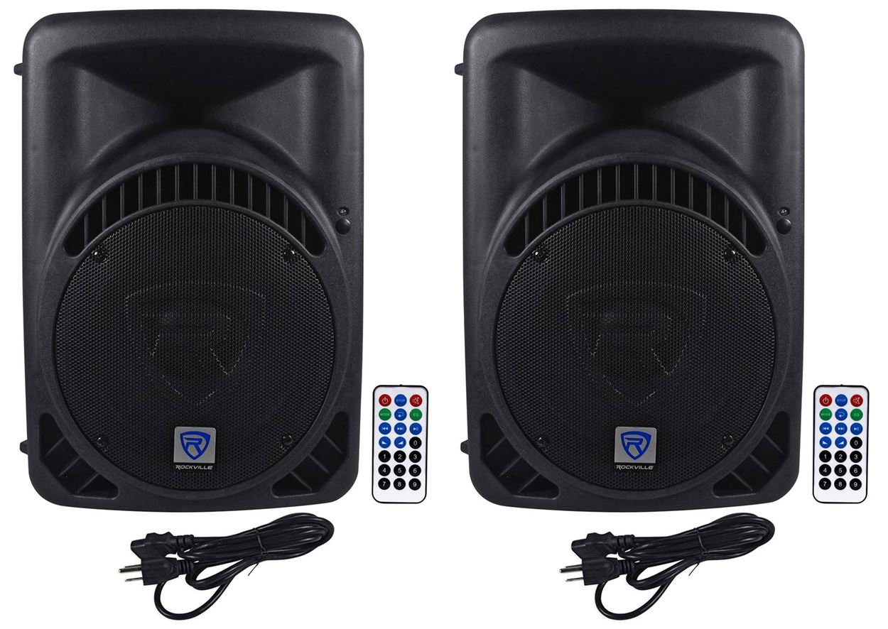 (2) Rockville RPG12BT 12'' Powered DJ PA Speakers BlueTooth, USB, SD - 1600w