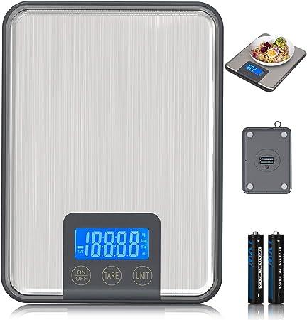 ADORIC 15kg/33lbs, Báscula de Cocina 15kg con Pantalla LCD para Cocina de Acero Inoxidable, Balanza de Alimentos Multifuncional, Color Plata(2 Baterías Incluidas) (Plata): Amazon.es