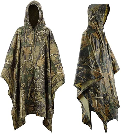 WATERPROOF OLIVE LIGHTWEIGHT HOODY PONCHO camping hiking fishing outdoor jacket