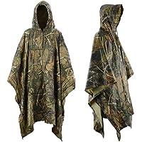 Infreecs - Poncho impermeable con capucha y estampado militar, para lluvia, acampadas al aire libre, ciclismo, viajes…