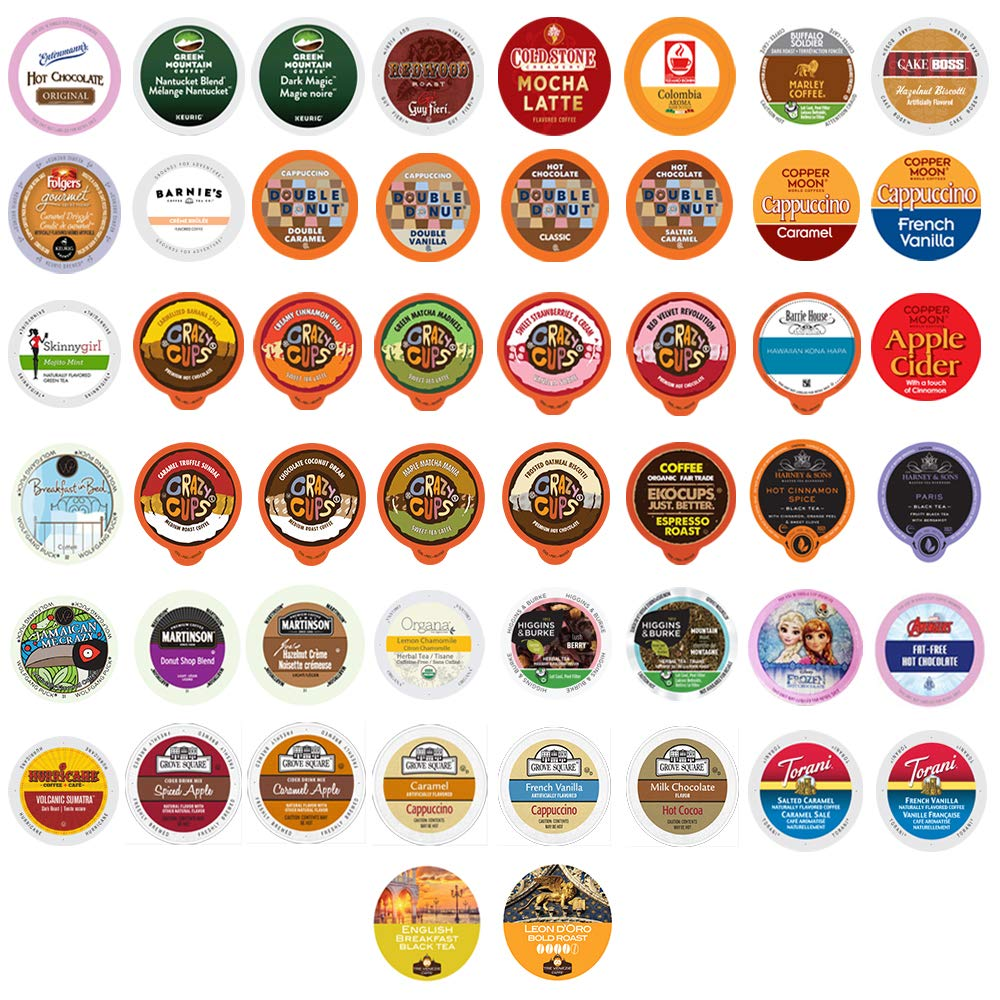 Coffee, Tea, and Hot Chocolate Coffee Variety Pack Sampler for Keurig K-Cup Machines, 50 Count