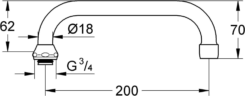 GROHE 13028000 7822091 /Évacuation en U avec bec tournant 200/mm Chrom/é