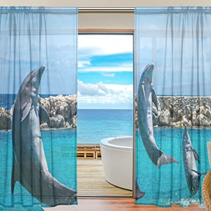 ALIREA Jumping Dolphin Tulle Polyester Door Voile Window Curtain Sheer  Curtain Panels For Bedroom Decor Living