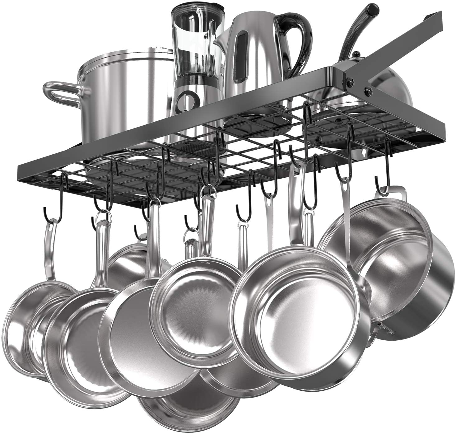 Amazon Com Vdomus Square Grid Wall Mount Pot Rack Kitchen Cookware Hanging Organizer With 15 Hooks 29 3 By13 Inch Black Home Improvement