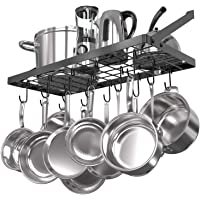 Vdomus Square Grid Wall Mount Pot Rack, Kitchen Cookware Hanging Organizer with 15 Hooks,29.3 by13-inch (Black)