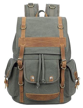 f7a1e42f8b7 Vintage Canvas Backpack College - Knapsack Backpacks Rucksack Traveling For  Men Women (ArmyGreen)