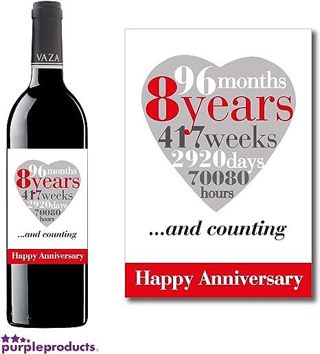 Anniversario Di Matrimonio 8 Anni.Purpleproducts Etichetta Per Vino Per 8 Anniversario Di