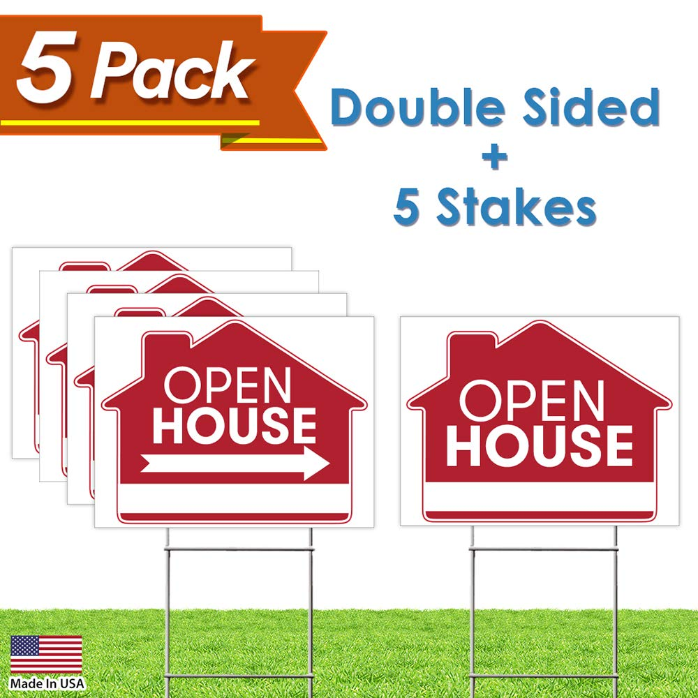 """Open House Sign Bundle Kit – [Upgraded] 5 Double Sided Red Pro Real Estate Property Yard Signs Bulk Pack & 5 Heavy Duty H Wire Stakes – Large Directional Arrows - 18""""x 24"""" Realtor Agent Supplies"""