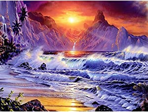 DIY 5DDiamondPaintingKit - Round FullDrill DiamondPaintingKitsforAdults and Kids with Crystal Rhinestone Arts Crafts for Room Decor Home Wall Decor Sunrise Iceberg Gift, 1216in