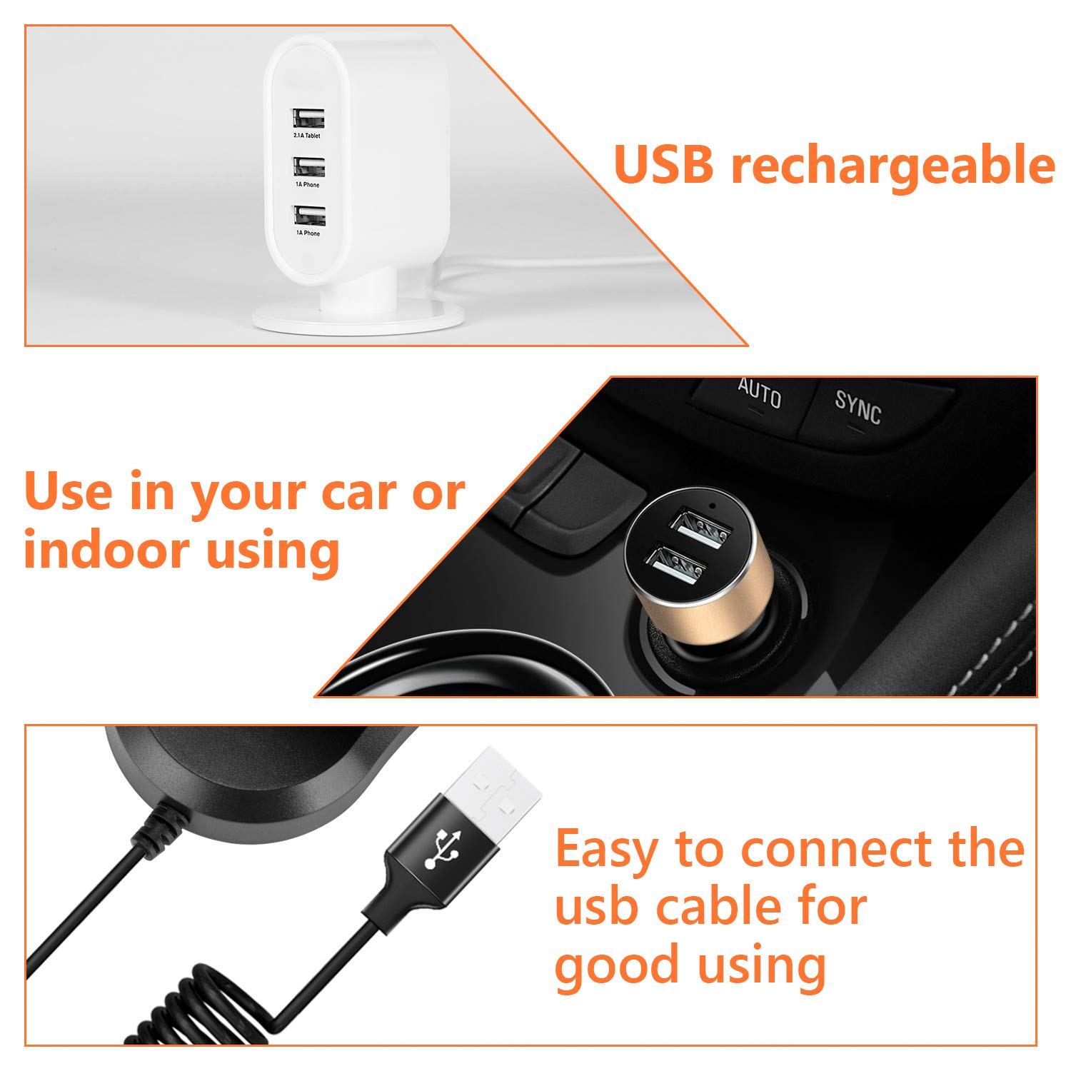 Baby,Desk 5V 2A COMLIFE 360 Rotating Free Adjustment Dual Head Car Auto Cooling Air Fan with 3 Adjustable Speeds,Quiet Powerful Dashboard Electric Car Fans For Vehicle,Back seat Boat