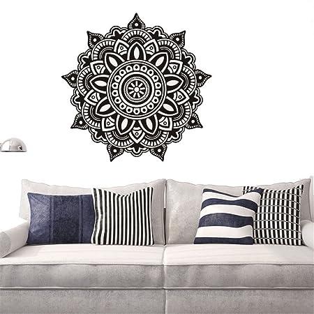 gossipboy DIY pared vinilo adhesivo negro – Mantra Mandala flores para yoga de meditación (57 x 57 cm) – inspirado Pared Arte Decal Mural para ...