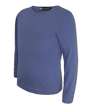 e563fdcaf8984 LOTMART Pour Enfants Uni Haut Basique Filles Manches Longues T-shirt Garçon  haut Col rond