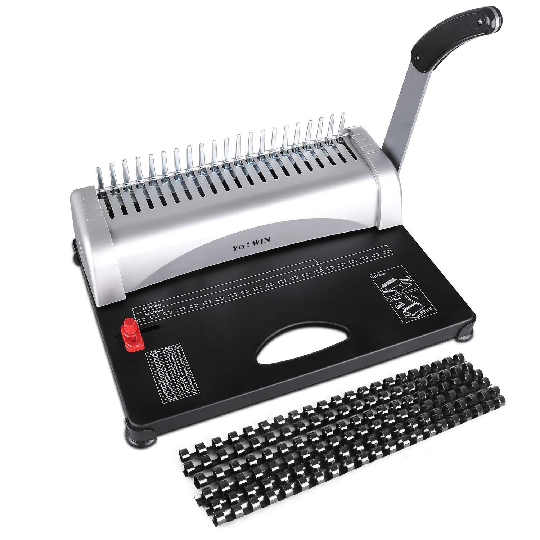 YoWin Binding Machine, 450 Sheet 21 Hole Comb Binding Machine with Starter Kit 100 PCS 3/8'' Comb Binding Spines, Comb Binding Machine Perfect for Office Documents
