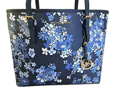 6929c456521d64 Amazon.com: Michael Kors Women's Jet Set Travel Floral Navy Carry All  Medium Tote: Shoes
