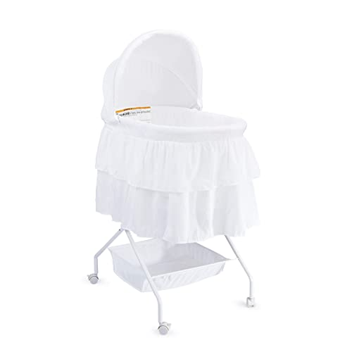 Big Oshi Madison Newborn Baby Bassinet – Bassinet for Boys or Girls – Perfect for Indoor Bedside Napping Removable Canopy Cover Includes Mattress Pad and Sheet, White