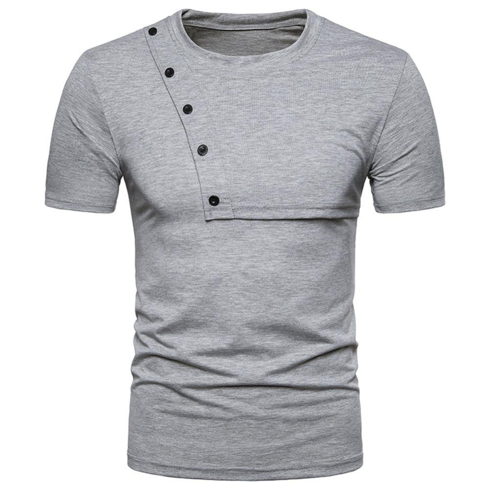 ♥2018 Men Blouse♥,Sunfei Fashion Personality Men's Casual Slim Zipper Short Sleeve T Shirt Top Blouse (Gray, S)