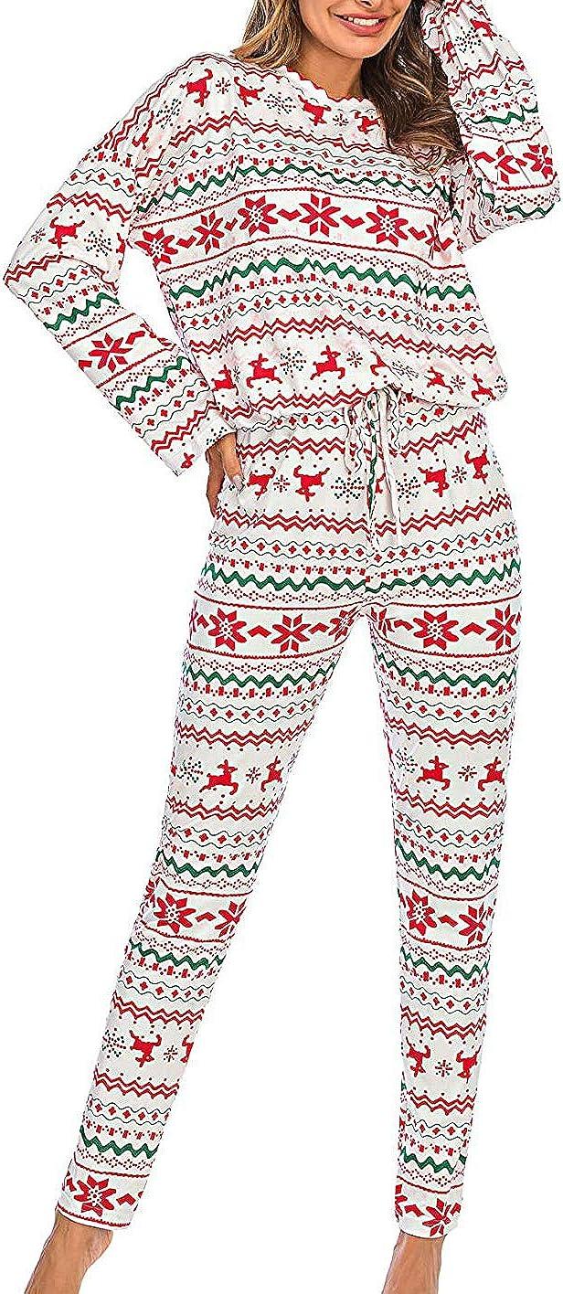 Huyghdfb Women 2 Piece Christmas Pajamas Long Sleeve Pullover ...