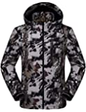 Omoone Men's Windproof Camo Print Fleece Lined Hooded Ski Jacket Mountain Coat