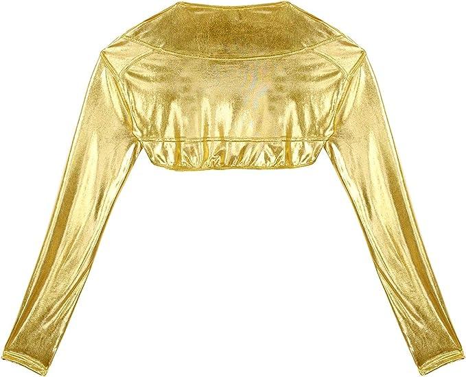 iiniim Damen Bolero Gl/änzend Metallic Schulterjacke Bauchfrei Cardigan Tops Kurzes J/äckchen Party Clubwear S-L