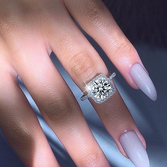 Mujeres Boda Compromiso Anillos Plata de Ley 925 Cz Diamantes Marcas Solitarias Princesa Corte Promesa Aniversario Novia Joyería Amor Infinito por Ella: ...