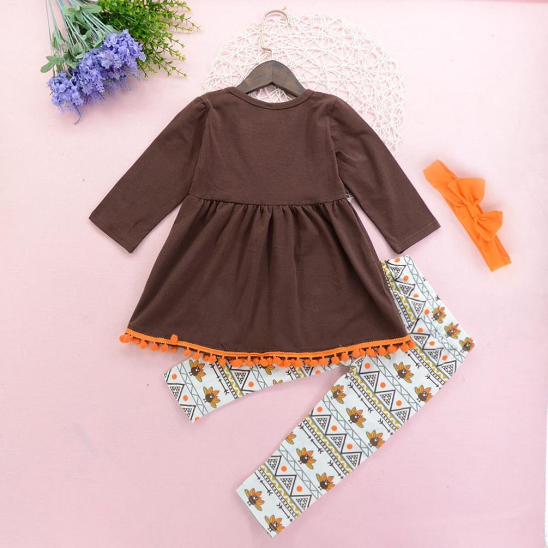 Kids Toddler Thanksgiving Outfit Turkey Clothes Set Baby Girls Dress+Pants+Headband
