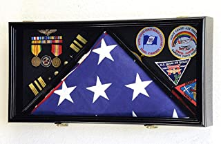 product image for Large Flag & Medals Military Pins Patches Insignia Holds up to 5x9 Flag Display Case Frame Cabinet Shadowbox (Black Finish)