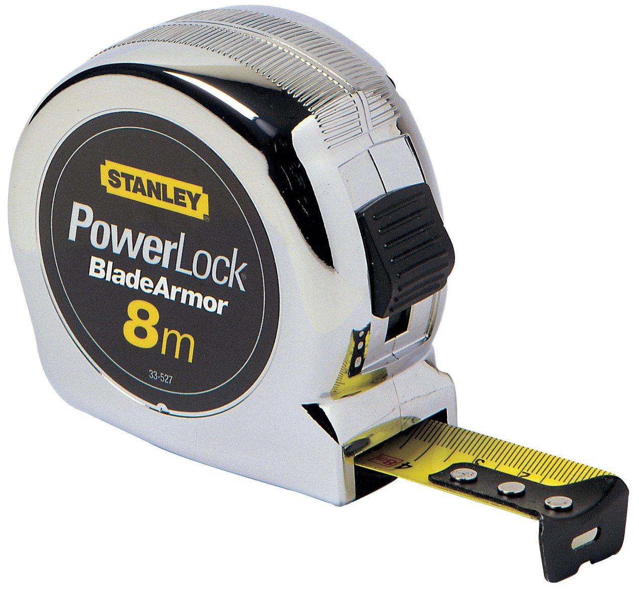 Stanley Bandmaß Micro Powerlock (3 m Länge, Feststeller, Rücklauf, Gürtelclip, verchromt, Mylar-Schutzschicht) 0-33-522 BLAMT