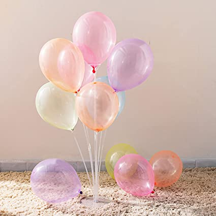 "12"" Multi Colors Dots Clear Balloons 15 Pcs."