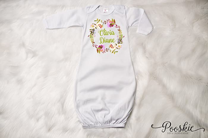 Amazon.com: Floral Baby Gown, Personalized Newborn Gown, Baby Shower ...