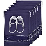 Lify Portable Travel Shoe Organizer Space Saving Fabric Storage Bags (Navy Blue, 16 X 12-Inch) -6 Pieces Pack