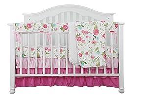 4PCS Crib Rail Guard Set Boho Floral Nursery Baby Bedding Ruffled Crib Skirt Crib Rail Cover Set (Pink Roses)